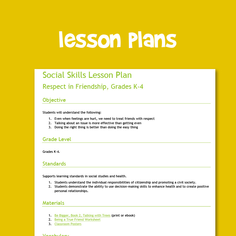 Lesson plans for Grades K-4 social emotional learning and character education