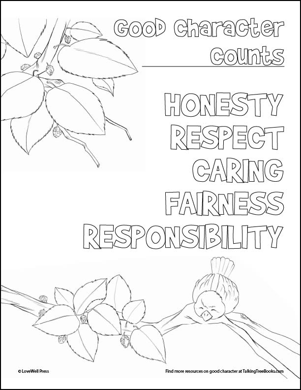 SEL Coloring Page- Good character counts