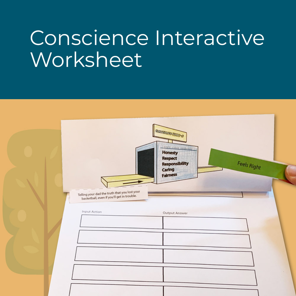 Conscience interactive worksheet for elementary social emotional learning