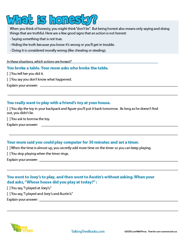 Honesty Worksheets And Teaching Resources