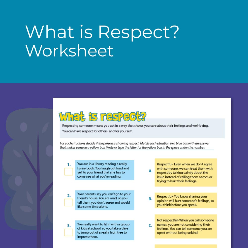 What is Respect, a worksheet for kids social emotional learning