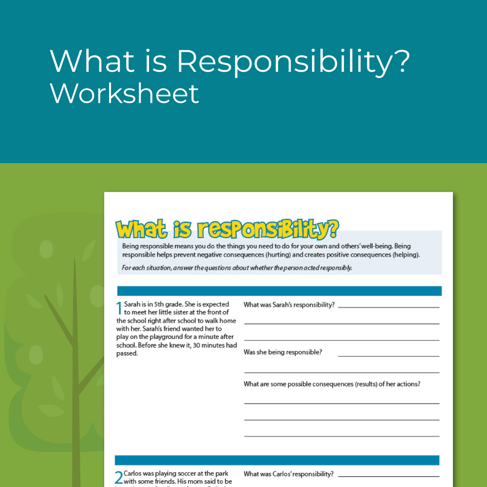 What is Responsibility Worksheet for kids social emotional learning