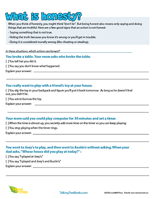 What is Honesty Worksheet for kids SEL